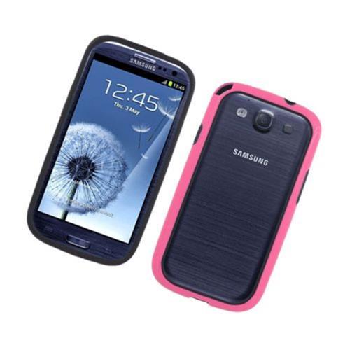 Insten Gel Bumper For Samsung Galaxy S3, Black/Hot Pink