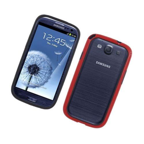 Insten Rubber Bumper For Samsung Galaxy S3, Black/Red