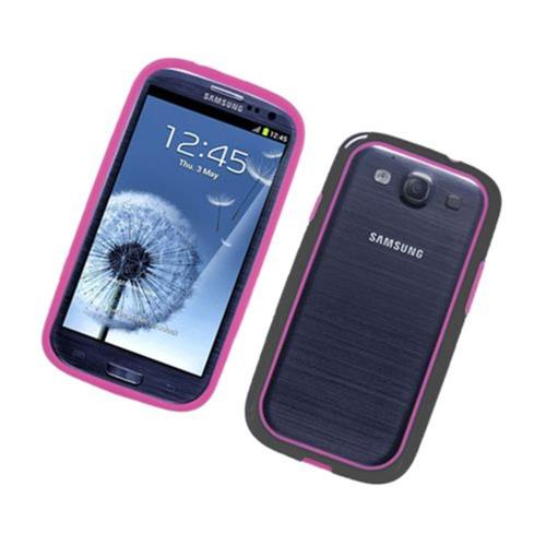 Insten Rubber Bumper For Samsung Galaxy S3, Hot Pink/Black