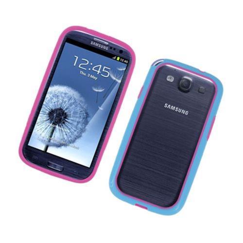 Insten Gel Bumper For Samsung Galaxy S3, Hot Pink/Blue
