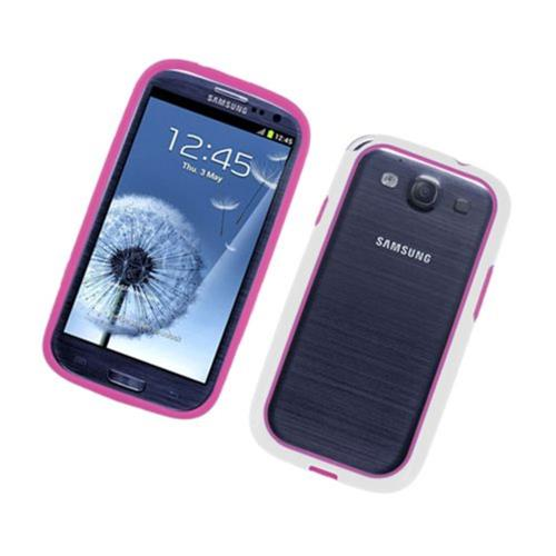 Insten Rubber Bumper For Samsung Galaxy S3, Hot Pink/White