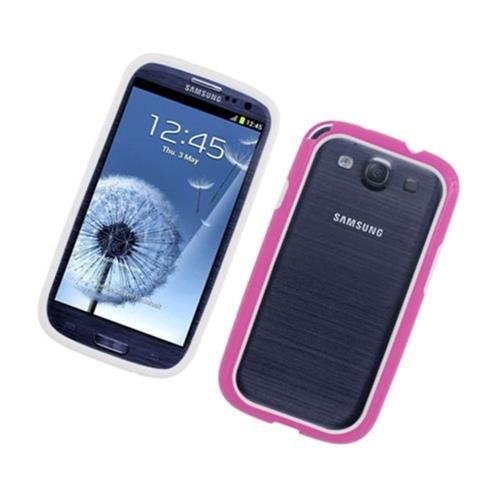 Insten TPU Bumper For Samsung Galaxy S3, White/Hot Pink