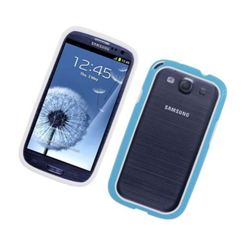 Insten TPU Bumper For Samsung Galaxy S3, White/Blue