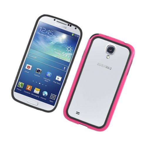 Insten Rubber Bumper For Samsung Galaxy S4, Black/Hot Pink