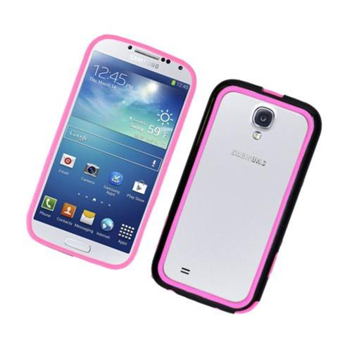 Insten TPU Bumper For Samsung Galaxy S4, Black/Hot Pink