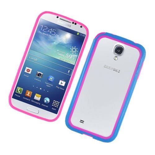 Insten TPU Bumper For Samsung Galaxy S4, Hot Pink/Blue