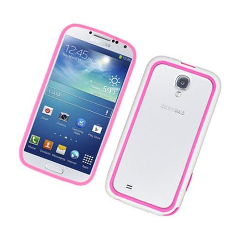 Insten TPU Bumper For Samsung Galaxy S4, Hot Pink/White