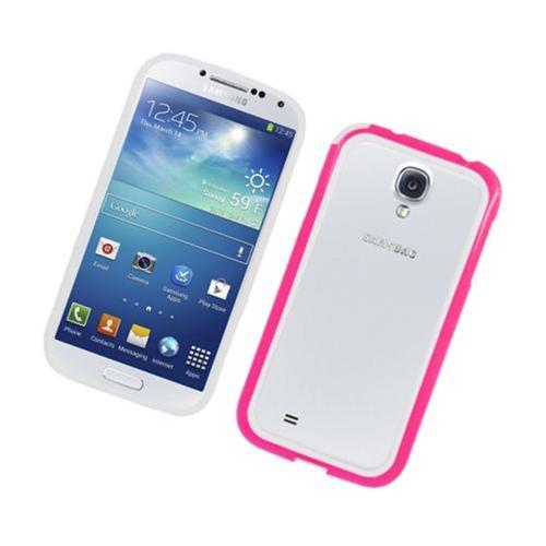 Insten Gel Bumper For Samsung Galaxy S4, White/Hot Pink