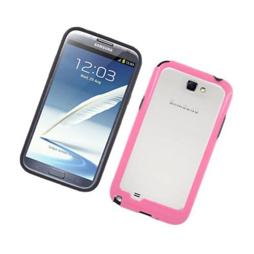 Insten Rubber Bumper For Samsung Galaxy Note II, Black/Hot Pink