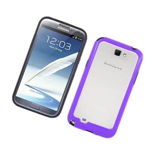 Insten Rubber Bumper For Samsung Galaxy Note II, Black/Purple