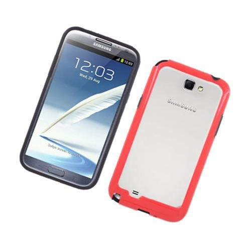 Insten Rubber Bumper For Samsung Galaxy Note II, Black/Red