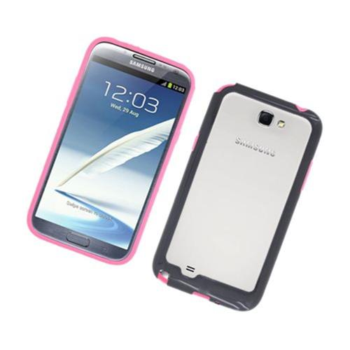 Insten TPU Bumper For Samsung Galaxy Note II, Hot Pink/Black
