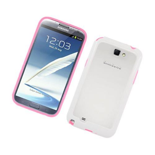 Insten Gel Bumper For Samsung Galaxy Note II, Hot Pink/White