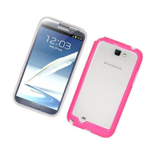 Insten Gel Bumper For Samsung Galaxy Note II, White/Hot Pink