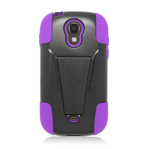 Insten Hard Hybrid Plastic Silicone Cover Case w/stand For Samsung Galaxy Light, Black/Purple