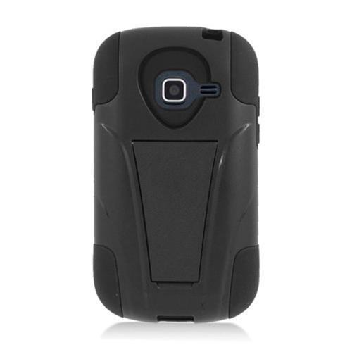 Insten Hard Dual Layer Plastic Silicone Case w/stand For Samsung Galaxy Centura, Black