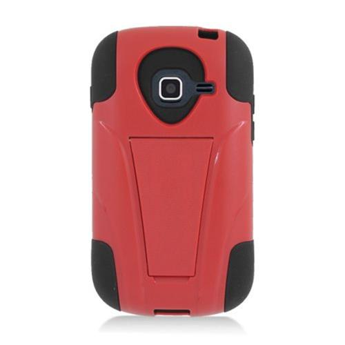 Insten Hard Dual Layer Plastic Silicone Case w/stand For Samsung Galaxy Centura, Red/Black