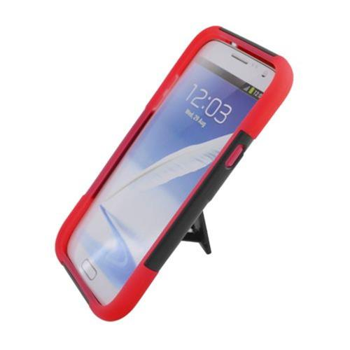 Insten Hard Hybrid Plastic Silicone Case w/stand For Samsung Galaxy Note II, Black/Red