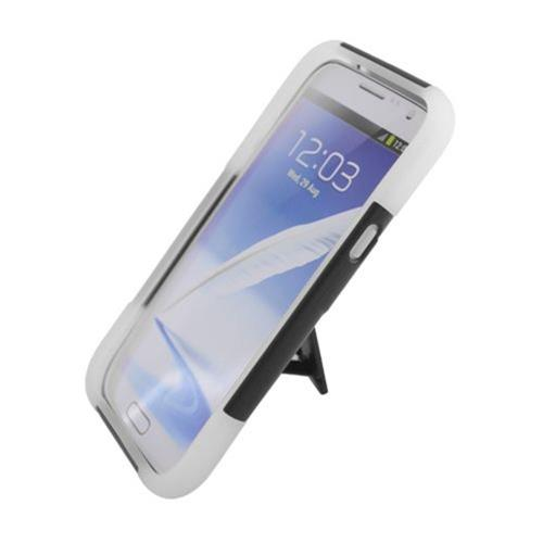 Insten Hard Dual Layer Plastic Silicone Cover Case w/stand For Samsung Galaxy Note II, Black/White