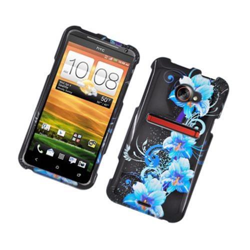 Insten Flowers Hard Case For HTC EVO 4G LTE, Black/Blue