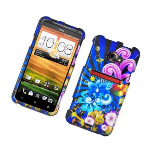 Insten Fireworks Hard Case For HTC EVO 4G LTE, Blue/Colorful