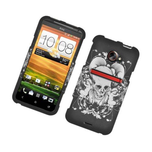 Insten Skull Hard Rubber Case For HTC EVO 4G LTE, Black/White