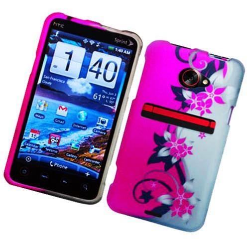Insten Vine Flower Hard Rubberized Cover Case For HTC EVO 4G LTE, Hot Pink/Silver