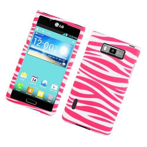 Insten Zebra Hard Rubberized Case For LG Splendor US730 / Venice LG730, Hot Pink/White