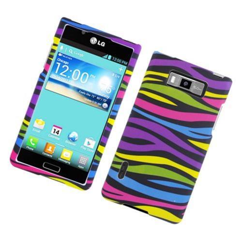 Insten Zebra Hard Rubber Coated Cover Case For LG Splendor US730 / Venice LG730, Colorful
