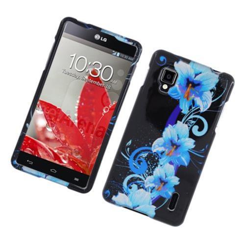 Insten Flowers Hard Case For LG Optimus G LS970 Sprint, Black/Blue