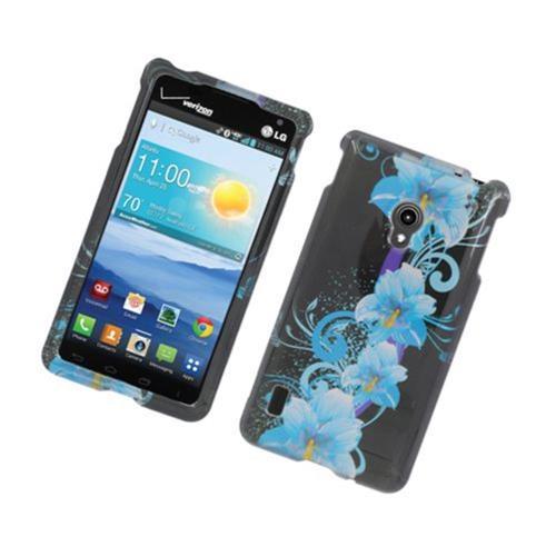 Insten Flowers Hard Cover Case For LG Lucid 2 VS870, Black/Blue