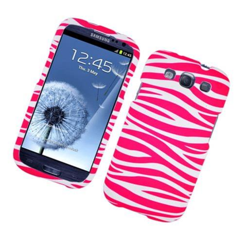 Insten Zebra Hard Cover Case For Samsung Galaxy S3, Hot Pink/White