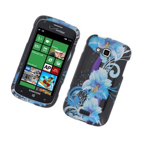 Insten Flowers Hard Case For Samsung ATIV Odyssey, Black/Blue
