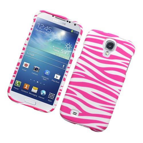 Insten Zebra Hard Rubber Case For Samsung Galaxy S4, Hot Pink/White