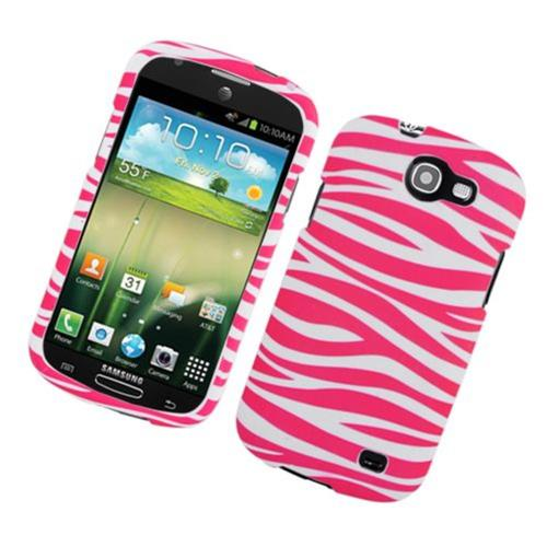 Insten Zebra Hard Rubber Cover Case For Samsung Galaxy Express SGH-i437, Hot Pink/White