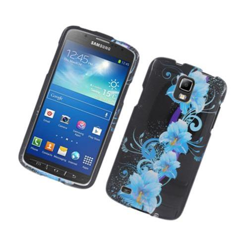 Insten Flowers Hard Cover Case For Samsung Galaxy S4 Active, Black/Blue