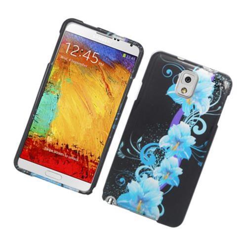 Insten Flowers Hard Case For Samsung Galaxy Note 3, Black/Blue