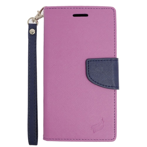 Insten Flip Leather Fabric Cover Case Lanyard w/stand/card holder For LG V10, Purple/Blue