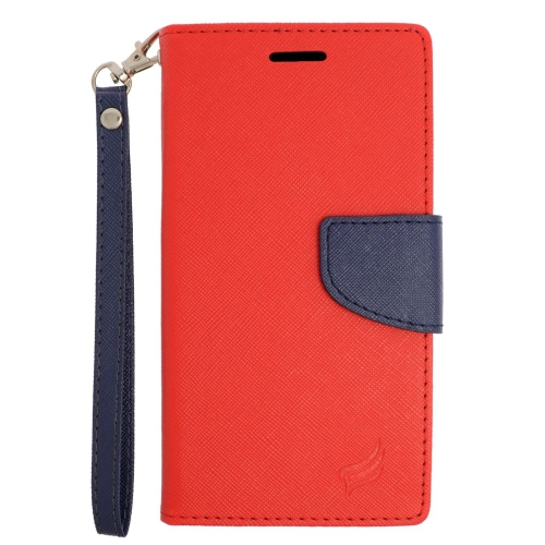 Insten Folio Leather Fabric Case Lanyard w/stand/card slot For LG V10, Red/Blue