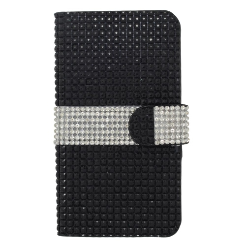 Insten Flip Leather Diamond Case w/card slot For LG Optimus Zone 3/Spree, Black/Silver