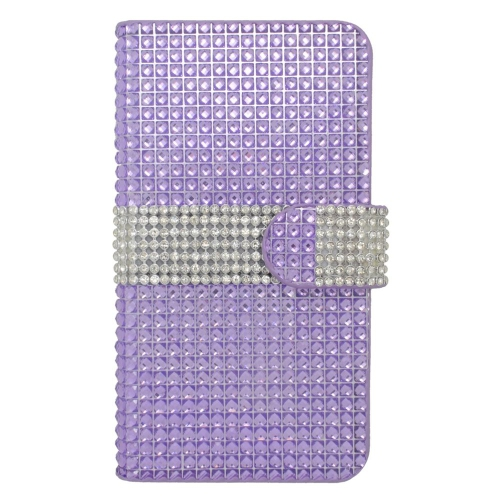 Insten Book-Style Leather Diamond Cover Case w/card slot For LG Optimus Zone 3/Spree, Purple/Silver