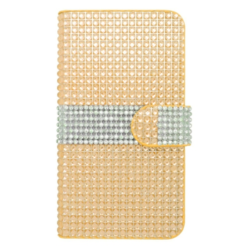 Insten Folio Leather Diamante Cover Case w/card slot For LG Optimus Zone 3/Spree, Gold/Silver