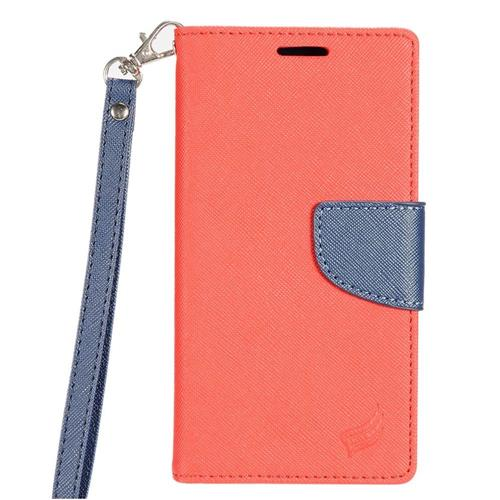 Insten Folio Leather Fabric Case Lanyard w/stand/card holder For LG Optimus Zone 3/Spree, Red/Blue