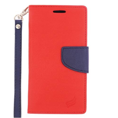 Insten Leather Fabric Case Lanyard w/stand/card slot For Samsung Galaxy S6 Edge, Red/Blue