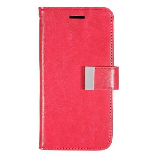 Insten Flip Leather Fabric Case w/card slot/Photo Display For Samsung Galaxy Grand Prime, Hot Pink