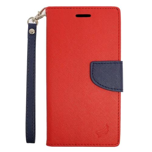 Insten Leather Fabric Case Lanyard w/stand/card holder For Samsung Galaxy S6 Edge Plus, Red/Blue