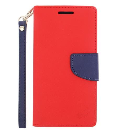 Insten Flip Leather Fabric Cover Case Lanyard w/stand/card slot For HTC One M9, Red/Blue
