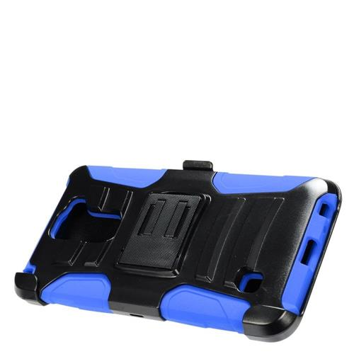 Insten Hard Hybrid Plastic Silicone Cover Case w/Holster For LG Stylus 2, Black/Blue