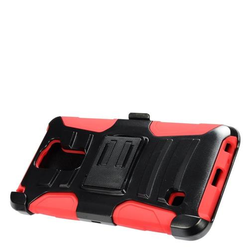 Insten Hard Dual Layer Plastic Silicone Case w/Holster For LG Stylus 2, Black/Red