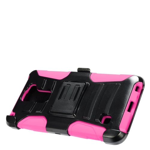 Insten Hard Dual Layer Plastic Silicone Cover Case w/Holster For LG Stylus 2, Black/Hot Pink
